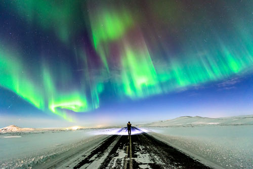 Iceland Road Aurora