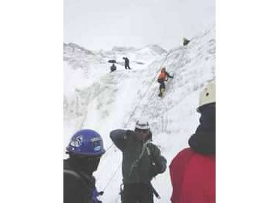 Ice climbing practice on Huayna Potosi