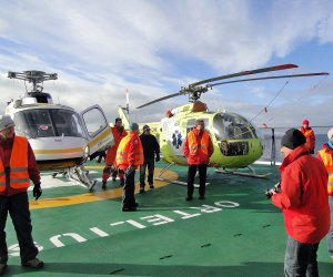 Helicopters will take you to the ice shelf.