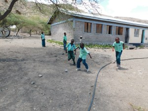 Kids at a Lake Natron school taking a break