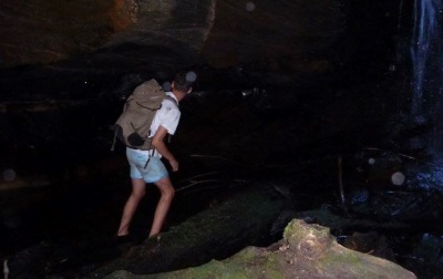 The Canyon, it was very dark and there was a waterfall (about 2m high), plus a cave-like section that Bailey's looking into.