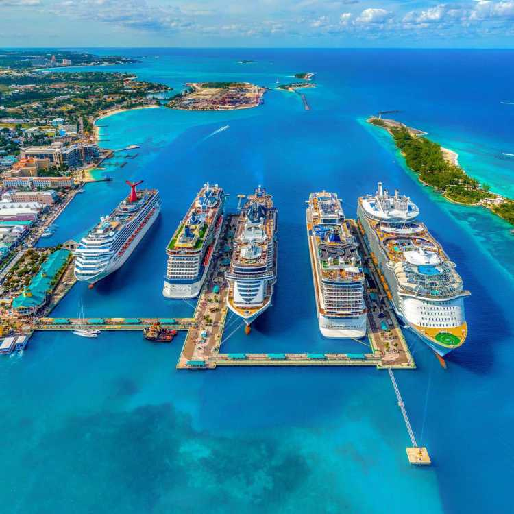 Bahamas cruise port with five cruise ships docked