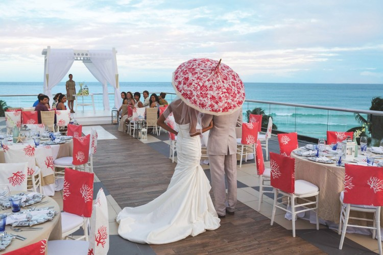 "Rooftop ""Sky Wedding"" destination wedding at an all inclusive Azul Beach Resort"