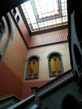 View of the skylight and walls of the Assembly Staircase. Designed by Leopold Eidlitz and has had major restoration work done.