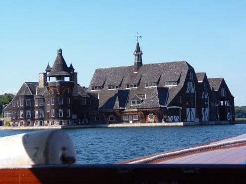 This is the yacht house of Boldt Castle. The yacht house is located on Wellesley Island. It was designed by Philadelphia architects, G.W. and W.D. Hewitt in 1903; it is listed on the National Register of Historic Places. It features many typical architectural elements that are commonly seen in shingle-style buildings constructed during the Gilded Age.