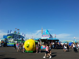 A view of the Midway. The Midway has always been a popular attraction of the Fair.