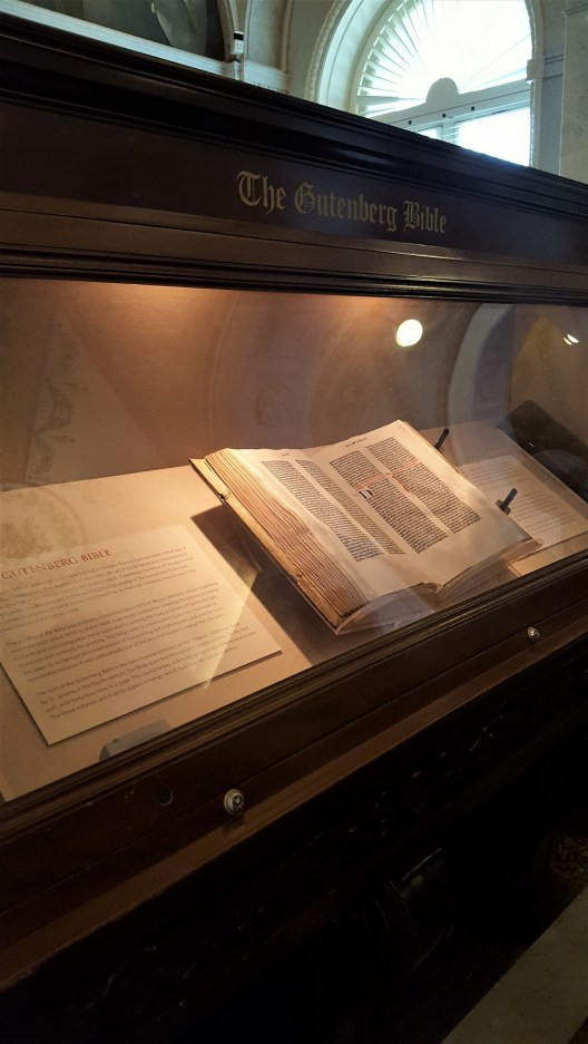 This Bible is on permanent display on the first floor of the Library. This is the first book to be printed via movable metal type. In particular this book, is only one of three in the world that are perfect copies of the Bible. The other two perfect copies are kept by the British Library and the Bibliotheque Nationale in France.