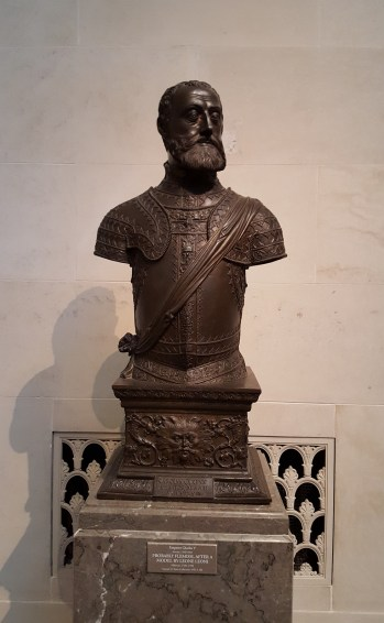 This is a bronze statue of Emperor Charles V, c. 1550/1568. The information and name tag indicates that it is probably Flemish and modeled after another piece of art by Leone Leoni. Anyways, it says it's suppose to be Emperor Charles V but I pretty sure this is actually Ser Davos Seaworth, just sayin'.