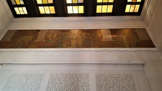 "This is the ""Unity"" mural by Jules Guerin located above Lincoln's second inaugural speech on the north wall of the Memorial."