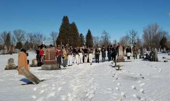 Words were said about Joseph York, who is considered the hero at the 2nd Battle of Ogdensburg. The re-enactors who made it to the wreath laying ceremony fired a volley to honor Sheriff York.