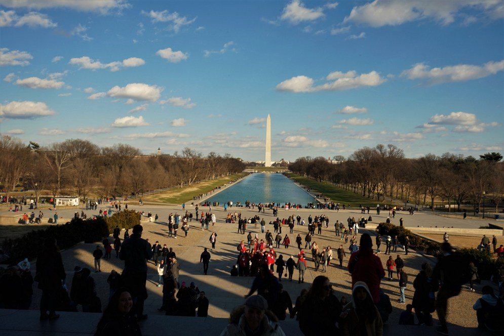 Looking down the National Mall at the reflecting pool and the Washington Monument.