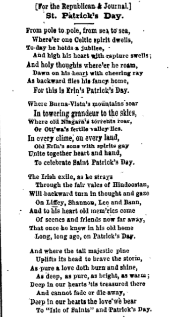 """This is a poem about St. Patrick's Day that was printed in Ogdensburg's, """"The Daily Journal"""" on March 17, 1869."""