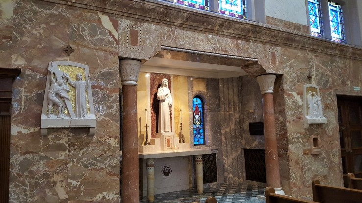 This is an altar to Saint Louise de Marillac, who was a co-founder of the Daughters of Charity in France in 1633.