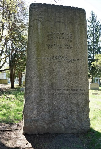 "This is the reverse side of the Coon Family Monument. The quote along the bottom reads: ""The shall the dust return to the earth as it was and the spirit shall return unto the God who gave it."""