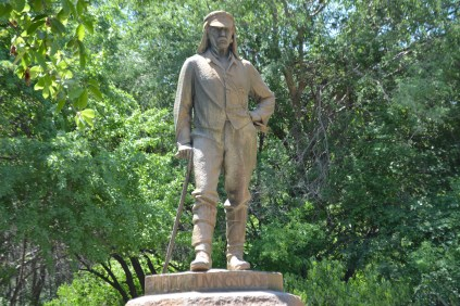 An imposing statue of Dr. Livingstone