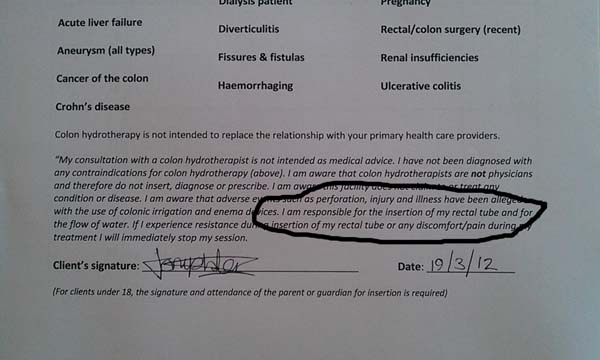 Colonic Disclaimer