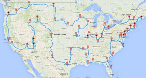 USA trip map