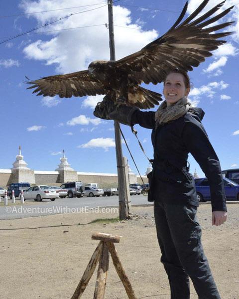 Vicky holding Golden Eagle