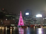 Christmas tree in Seoul Plaza, by City Hall, on a rainy night.