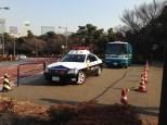 Police vehicles.