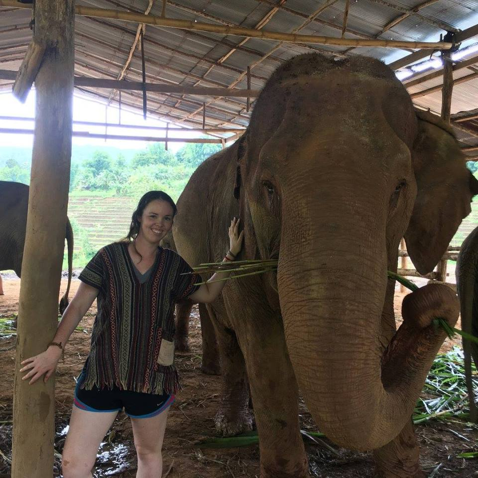 Madeline in Thailand with an Elephant
