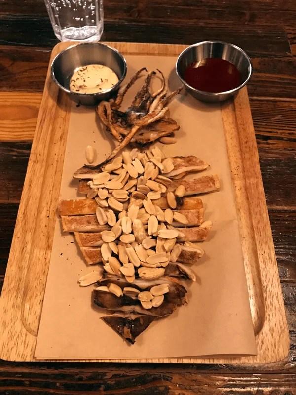Calamari dish at a restaurant in South Korea