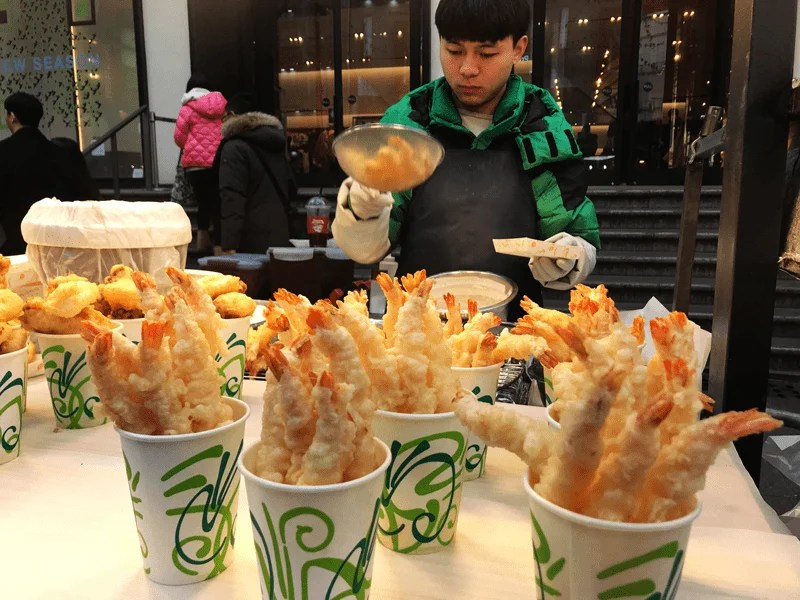 Fried Prawns in a cup on the streets in Seoul, South Korea