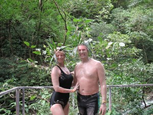 Relaxing in the hot springs, after the mud bath