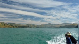 Akaroa New Zealand Harbour and cloudy sky