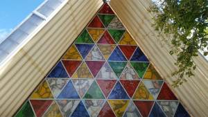Front facade of the Cardboard Cathedral in Christchurch