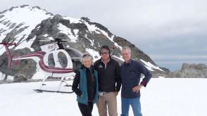 Wendy, Tom and Fox & Franz Heliservices pilot on Franz Josef glacier