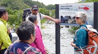 Guide from Glacier Valley Eco Tours describing changes to the glacier over the recent years