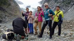 Glacier Valley Eco Tours guide prepares tea for the tour group at Franz Josef Glacier
