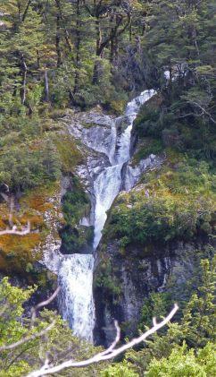Waterfall along Routeburn track New Zealand