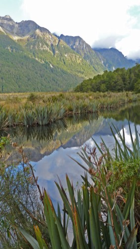 Reflected image of New Zealand's Earl Mountains; one stop during Fiordland Tours trip to Milford Sound