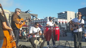 Band playing on Wellington Harbour waterfront