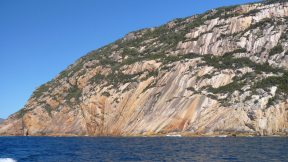 Granite mountainside in Freycinet, as seen on a Wineglass Bay Cruise