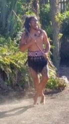 Tamaki Maori Village warrior guarding entrance