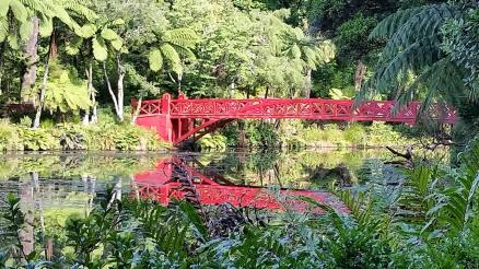 Taranaki New Plymouth Pukekura Park - red bridge