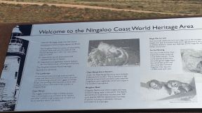 Exmouth Vlaming Head Lighthouse Ningaloo Coast World Heritage sign