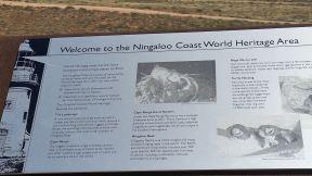 Exmouth Vlaming Head Lighthouse Ningaloo Coast World Heritage sign