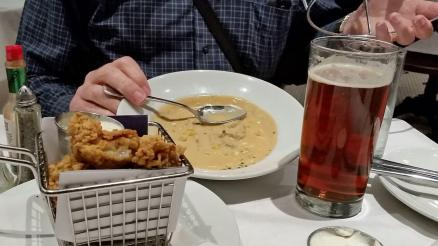Fried oysters, bisque and beer, at Luke's