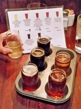 Beer flight at Beaver Street Brewery