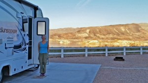 Our RV site at Lake Mead at sunset.