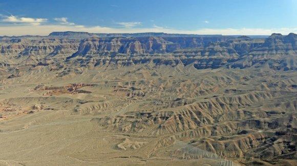 Desert to mountainous terrain approaching Grand Canyon West