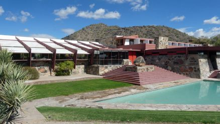 Taliesin West Front entrance with pool