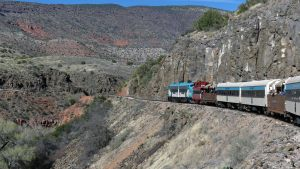 Beautiful Verde Canyon scenery along railroad tracks