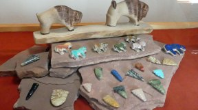 Zuni jewelry and stone carvings