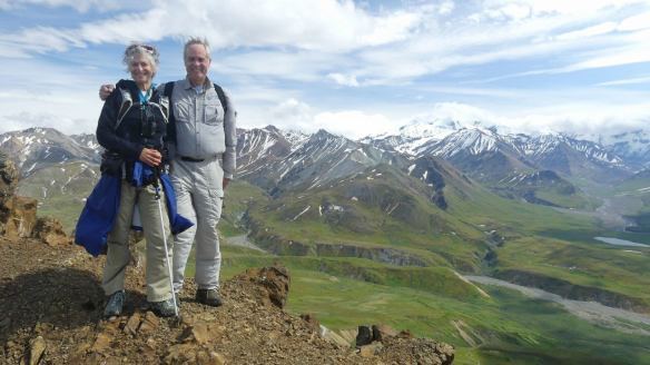 At the top of Thoroughfare Trail overlooking the Alaska Range