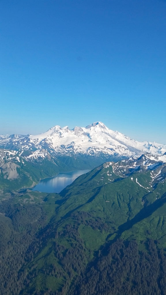 Aerial of Chinitina Bay approach Lake Clark National Park in Alaska